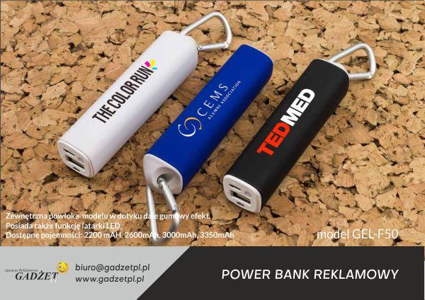 gumowy power bank z logo