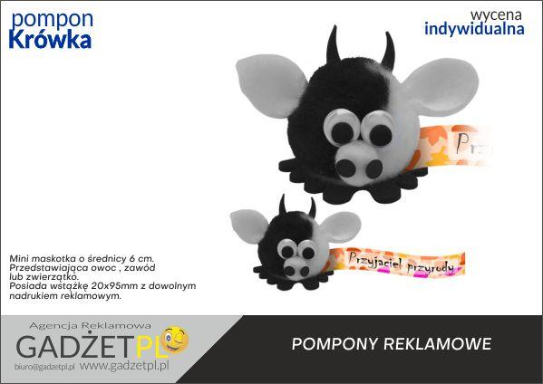 pompony reklamowe z logo krówka