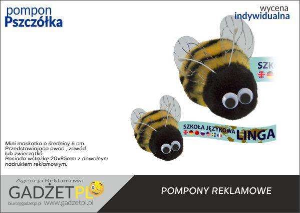 pompony reklamowe z logo pszczoła