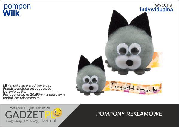 pompony reklamowe z logo wilk