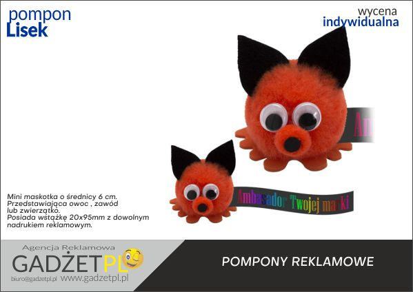 pompony reklamowe z logo lis