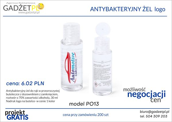produkty ochrony osobistej z logo żel antybakteryjny