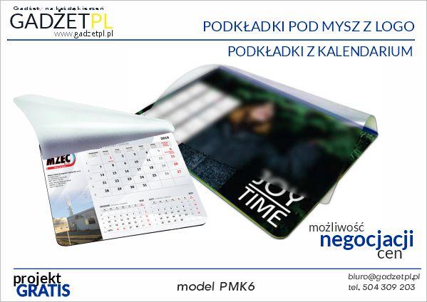 podkładki reklamowe pod mysz z kalendarium i logo